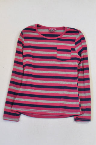 Pink Angel Cerise & Navy Striped T-shirt Girls 12-13 years