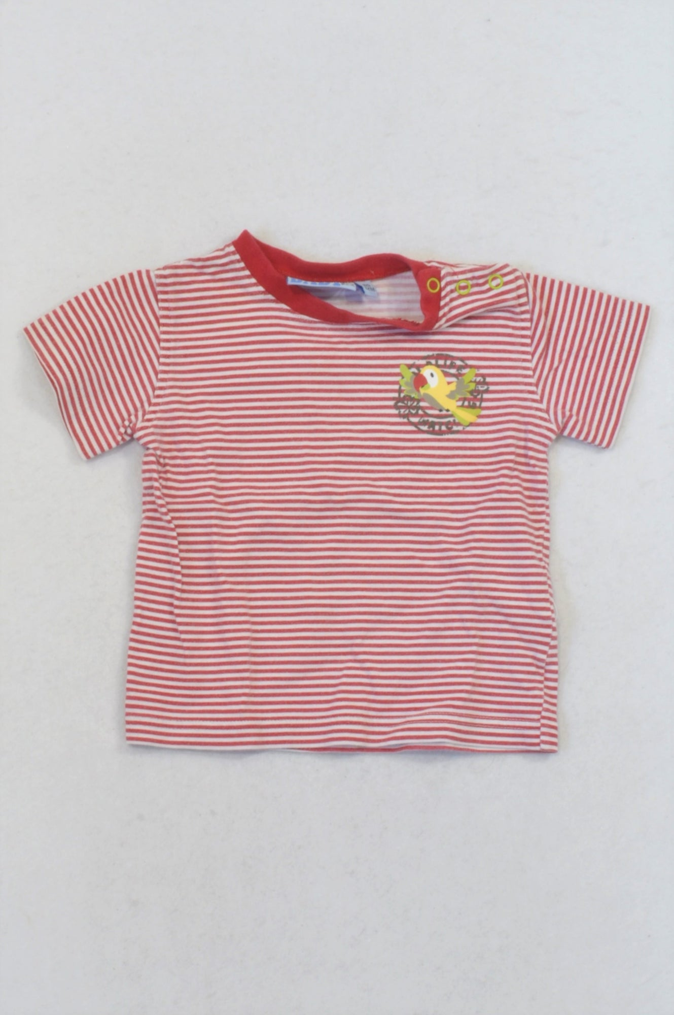 Red Thin Stripe Parrot T-shirt Boys 6-12 months