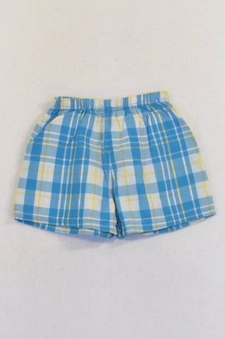 Woolworths Blue & Yellow Plaid Sleep Shorts Boys 2-4 months