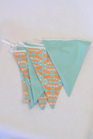 Aqua & Orange Fox Bunting Decor Unisex N-B to 2 years