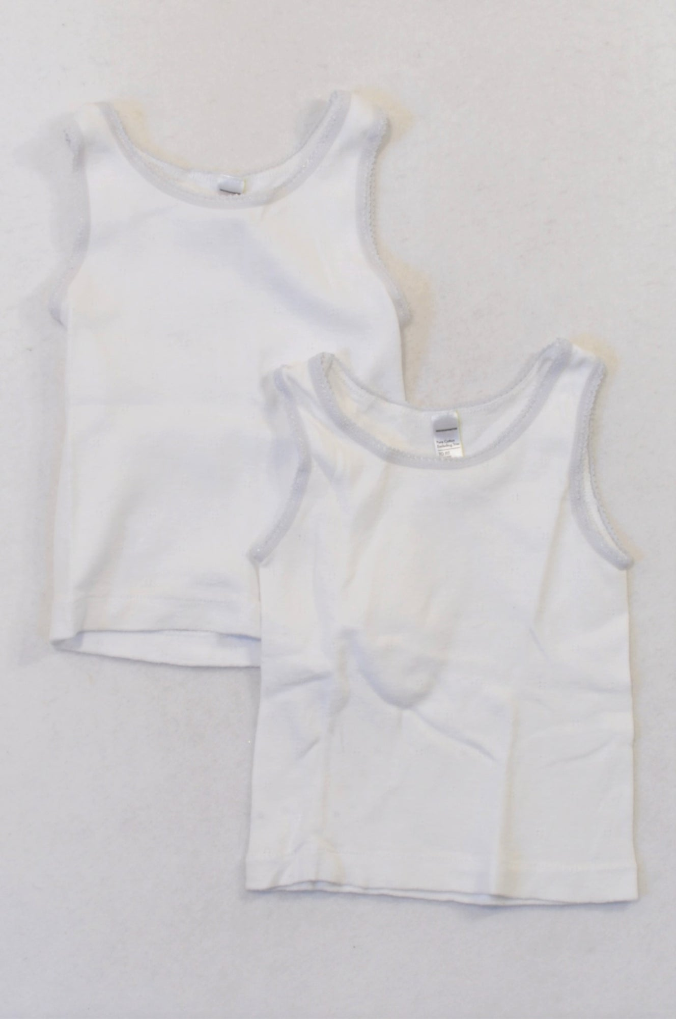 0e3206f5888 Woolworths 2 Pack Lace Trim Tank Vest Tops Girls 2-3 years