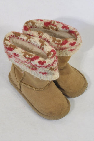 Next Size 7 Beige Knit Detail Ugg Style Boots Girls 2-3 years