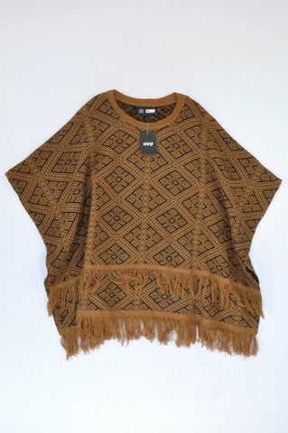 New Mr. Price Caramel & Black Geometric Knit Poncho Jersey Women Size S
