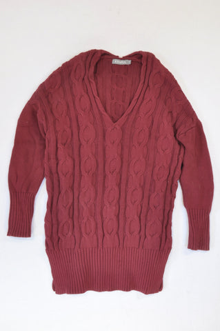 Utopia Maroon Cable Knit Jersey Women Size S