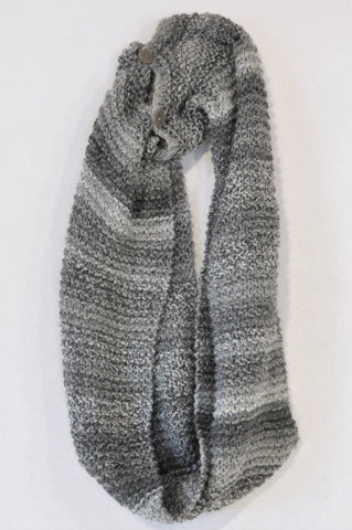 Unbranded Grey Tone Button Snood Scarf Women