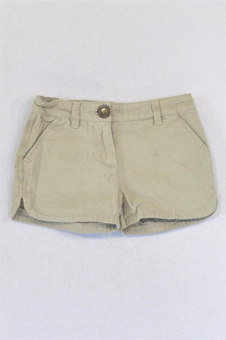 Next Khaki Pocket Stitch Detail Shorts Girls 2-3 years