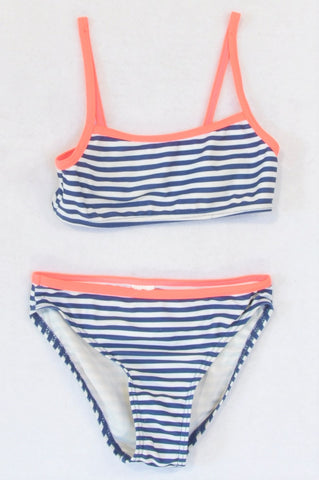 In Extenso Navy Striped Lumo Trim Bikini Swim Suit Girls 5-6 years