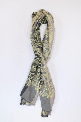 New Woolworths Shades of Green Floral Pashmina Scarf Women One Size