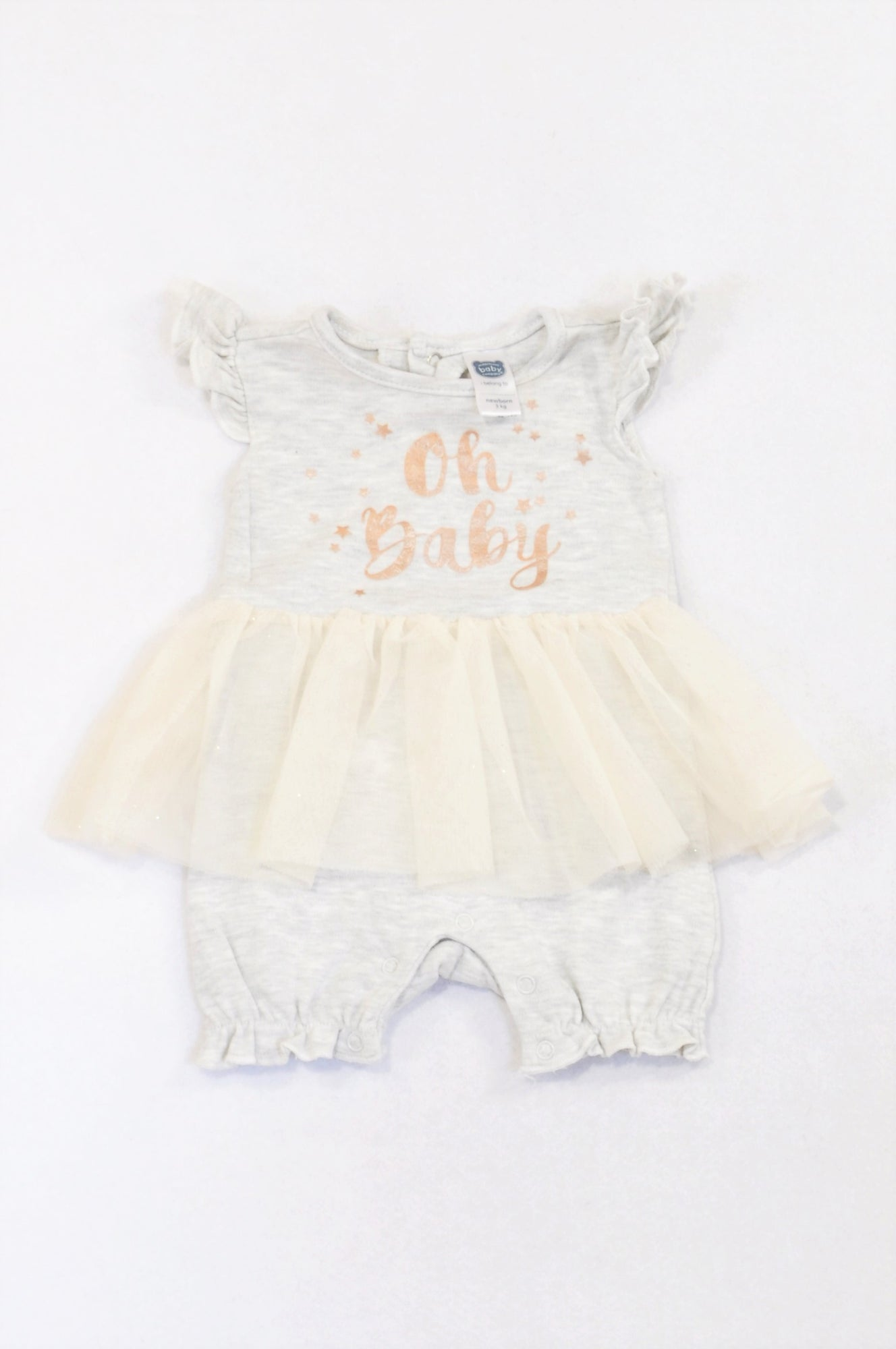 Ackermans Grey Oh Baby Tulle Detail Romper Girls N-B