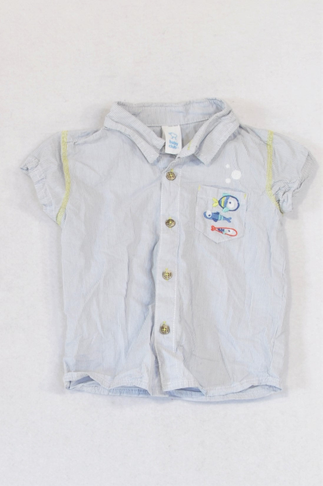 Baby Club Navy Pinstripe Embroidered Fishee Pocket Shirt Boys 3-6 months