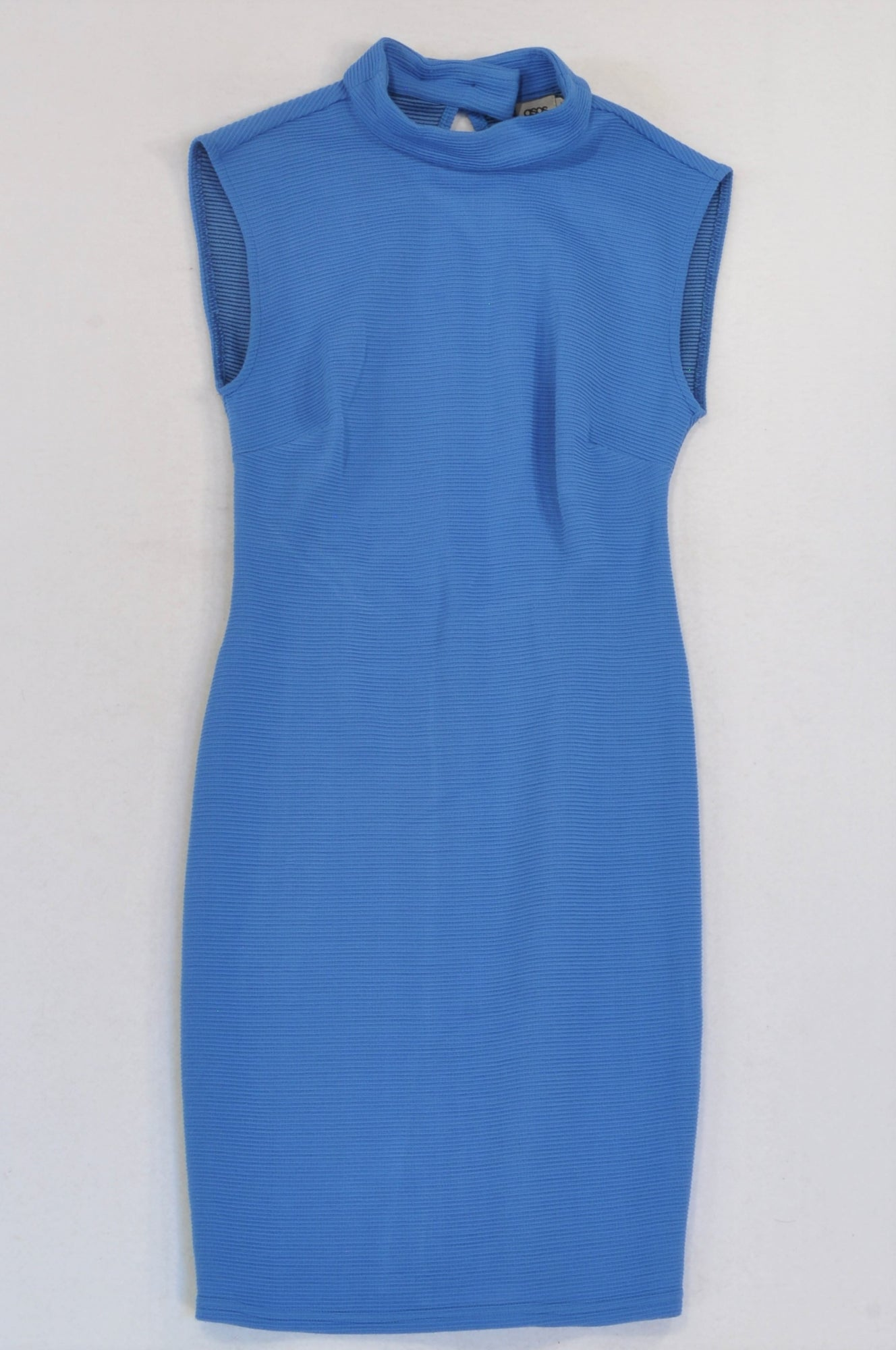 Asos Blue Ribbed High Neck Slim Fit Dress Women Size 6