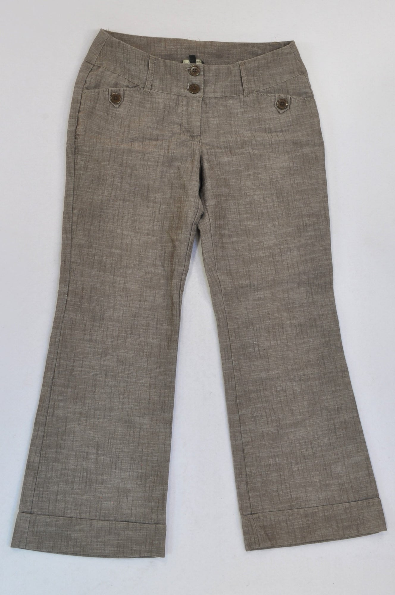 Mozaic Brown Textured Button Bootleg Pants Women Size 34