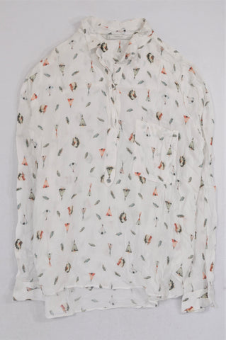 Zara White Lightweight Tribal Tent & Feather Blouse Women Size L