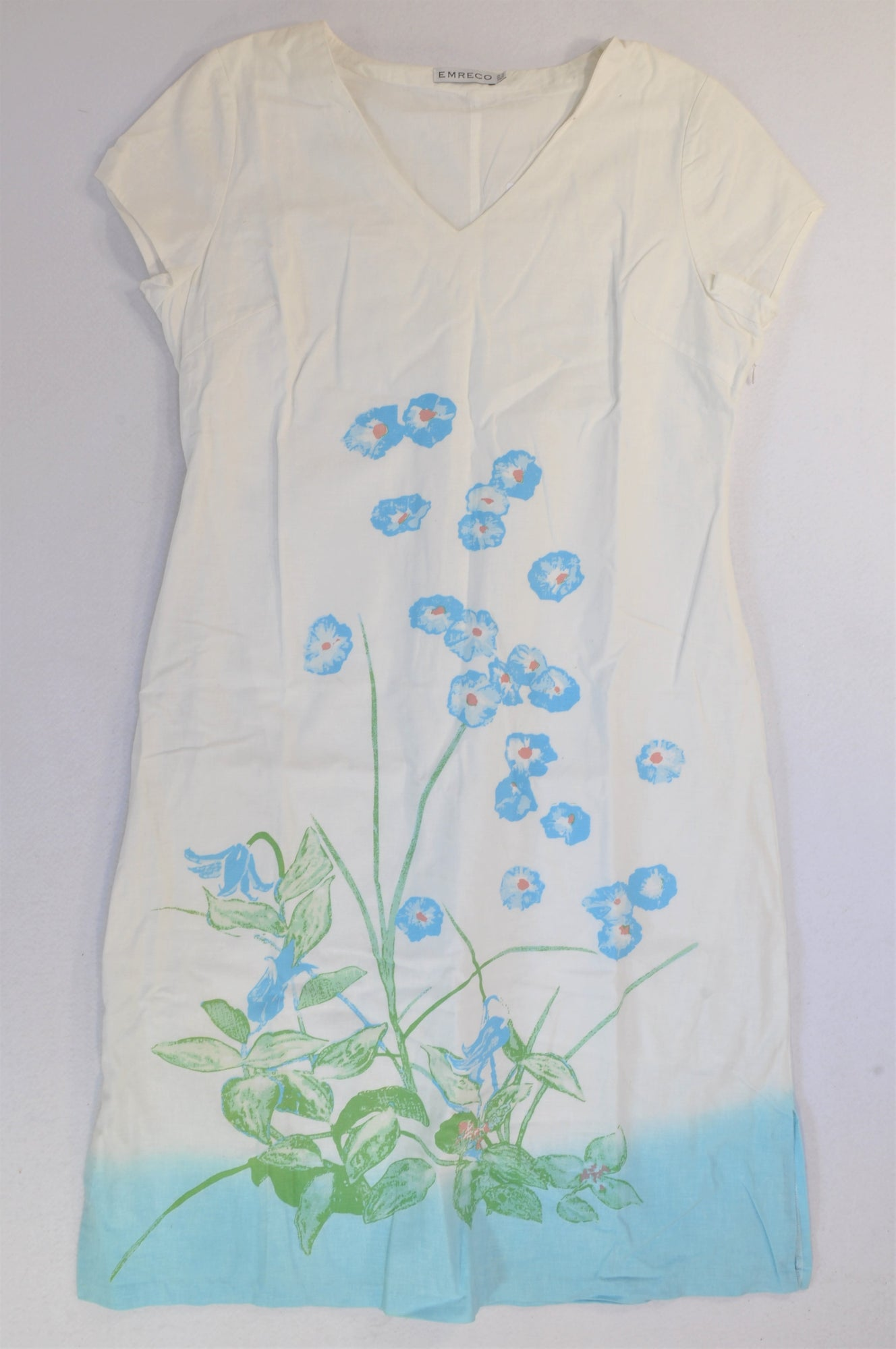 Emreco White & Blue Flower Painted Dress Women Size 16