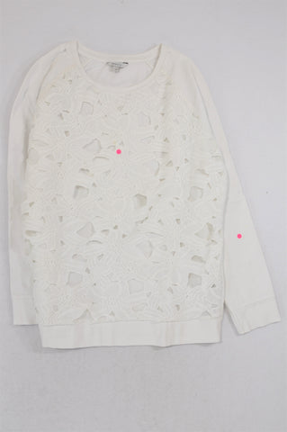 Poetry White Zipper Flower Overlay Long Sleeve Top Women Size 12