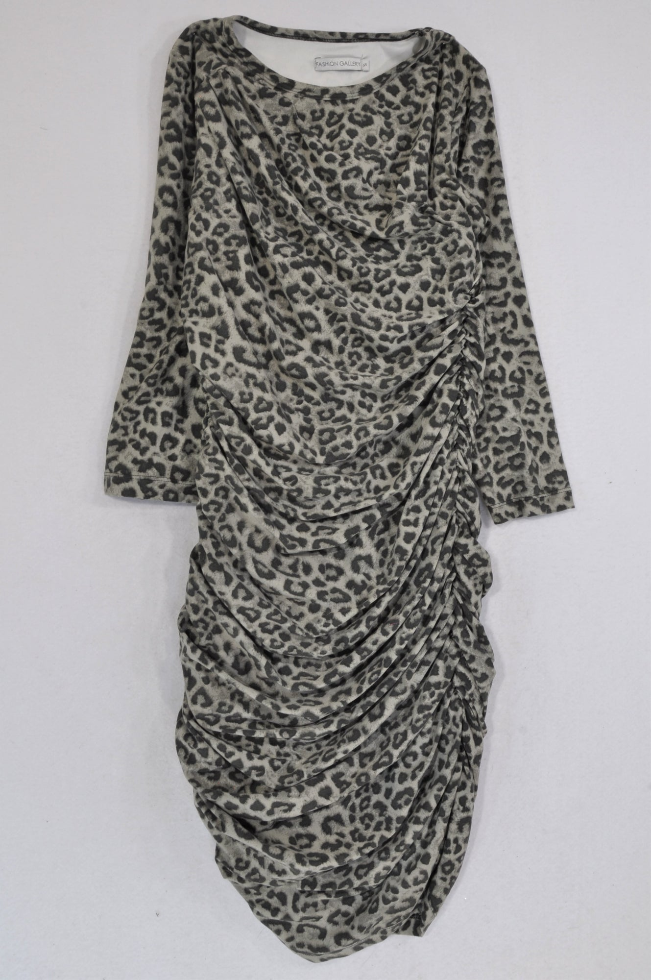 Fashion Express Grey Leopard Print Dress Women Size S