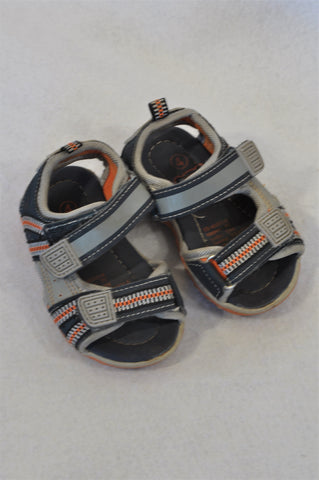 Ackermans Size 4 Navy & Orange Grey Strap Sandals Boys 12-18 months