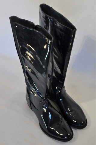 Unbranded Navy Shiny High Boots Women Size 7