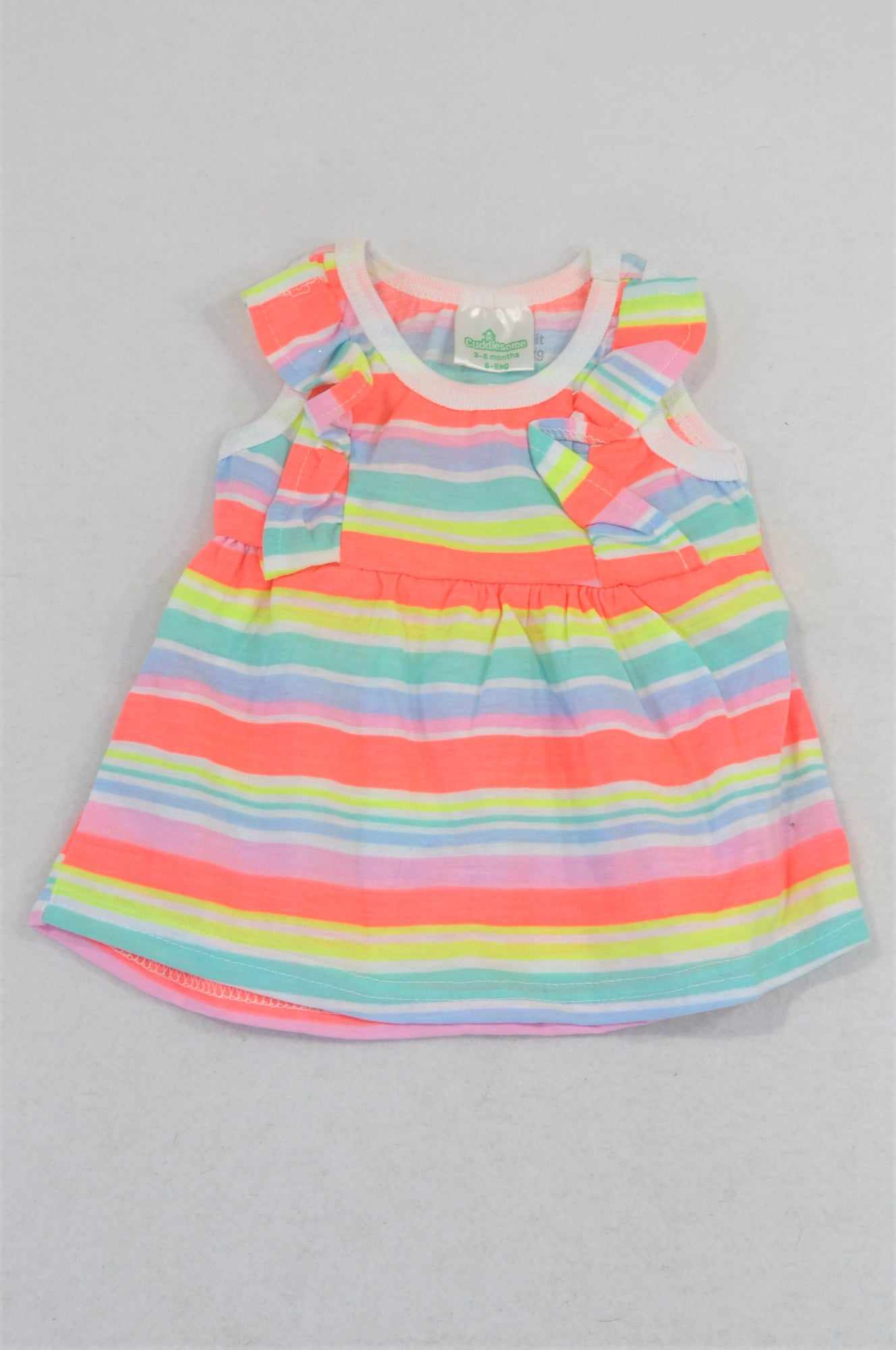 Pep Lumo Orange & Yellow Stripe Frill Dress Girls 3-6 months