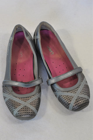 Skechers Grey Ribbon Detail Pink Detail Shoes Women Size 6