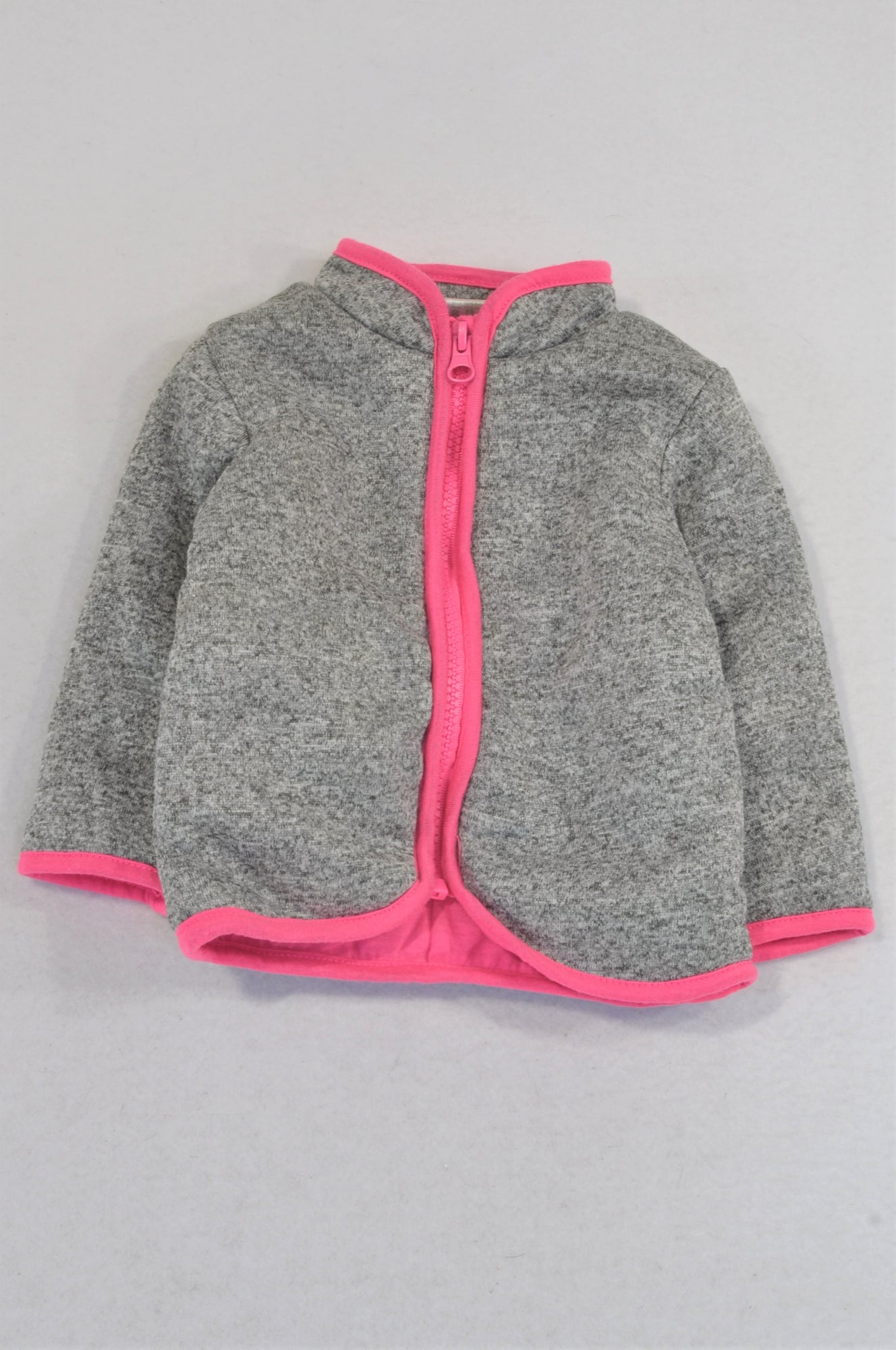 Pep Grey Pink Trim Zipper Padded Jacket Girls 3-6 months
