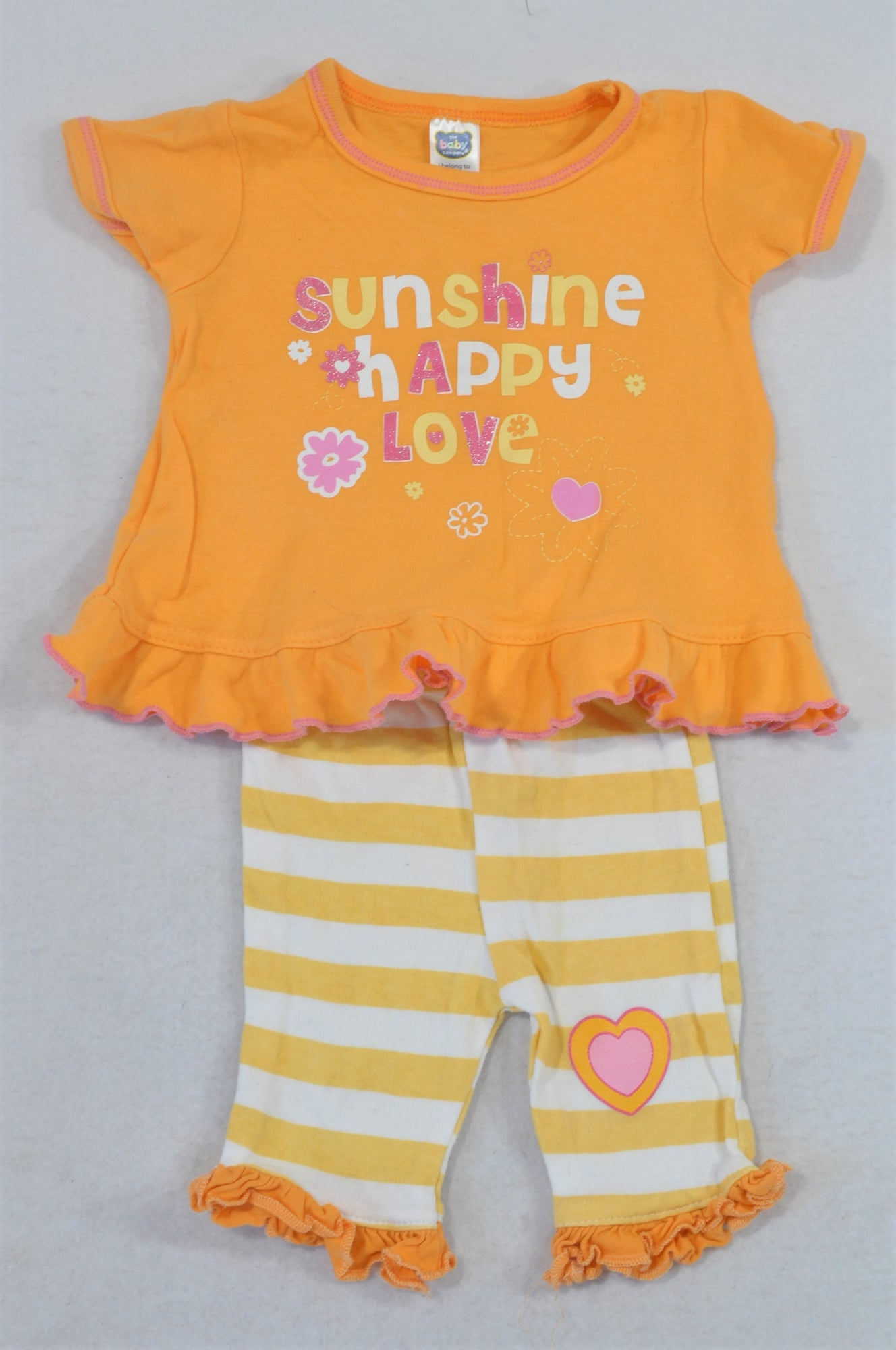 Ackermans Orange Sunshine Happy T-Shirt & Striped Leggings Outfit Girls 0-3 months