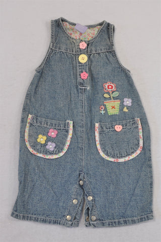 Gymboree Stone Washed Denim Flower Embroidered Snap Romper Girls 0-3 months