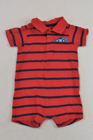 Carter's Red & Navy Stripe Car Collared Romper Girls 0-3 months