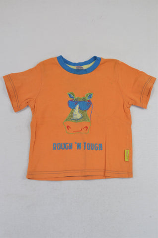 Hooligans Orange Rough & Tough Zebra T-shirt Boys 2-3 years