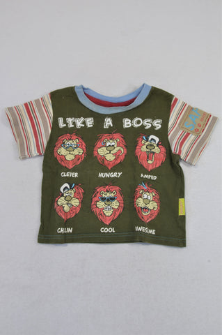 Hooligans Olive Like A Boss Lion T-shirt Boys 1-2 years