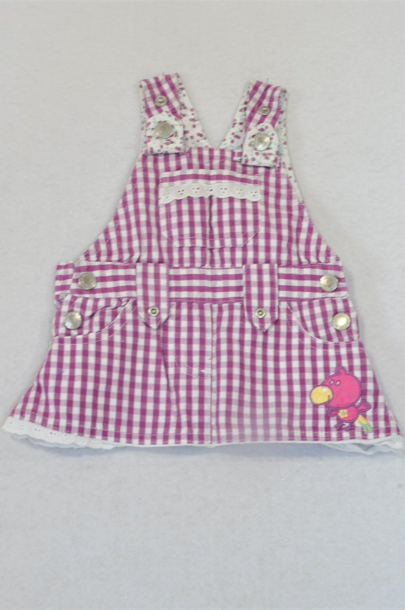 Topolino Purple Check Flower Trim Tweety Bird Dress Dungarees Girls 0-3 months