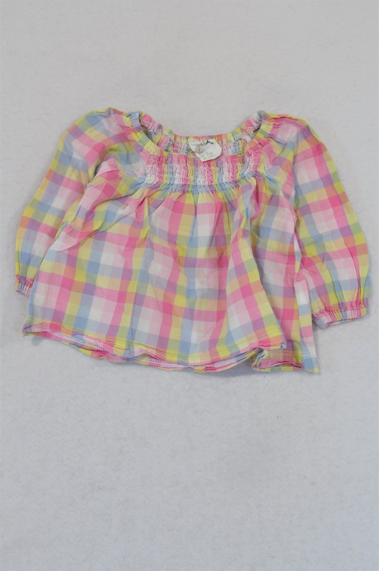 H&M Pink Purple & Yellow Check Tunic Blouse Girls 2-4 months