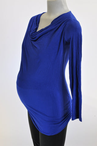 Meamama Royal Blue Long Sleeve Maternity T-Shirt Women Size S