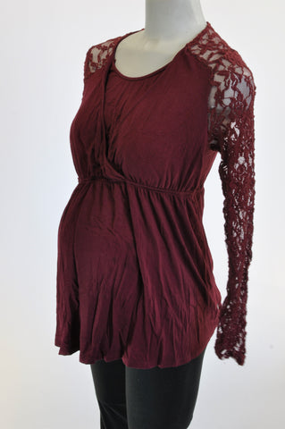 Cherrymelon Wine Red Lace Inset Nursing Friendly Maternity Blouse Size L