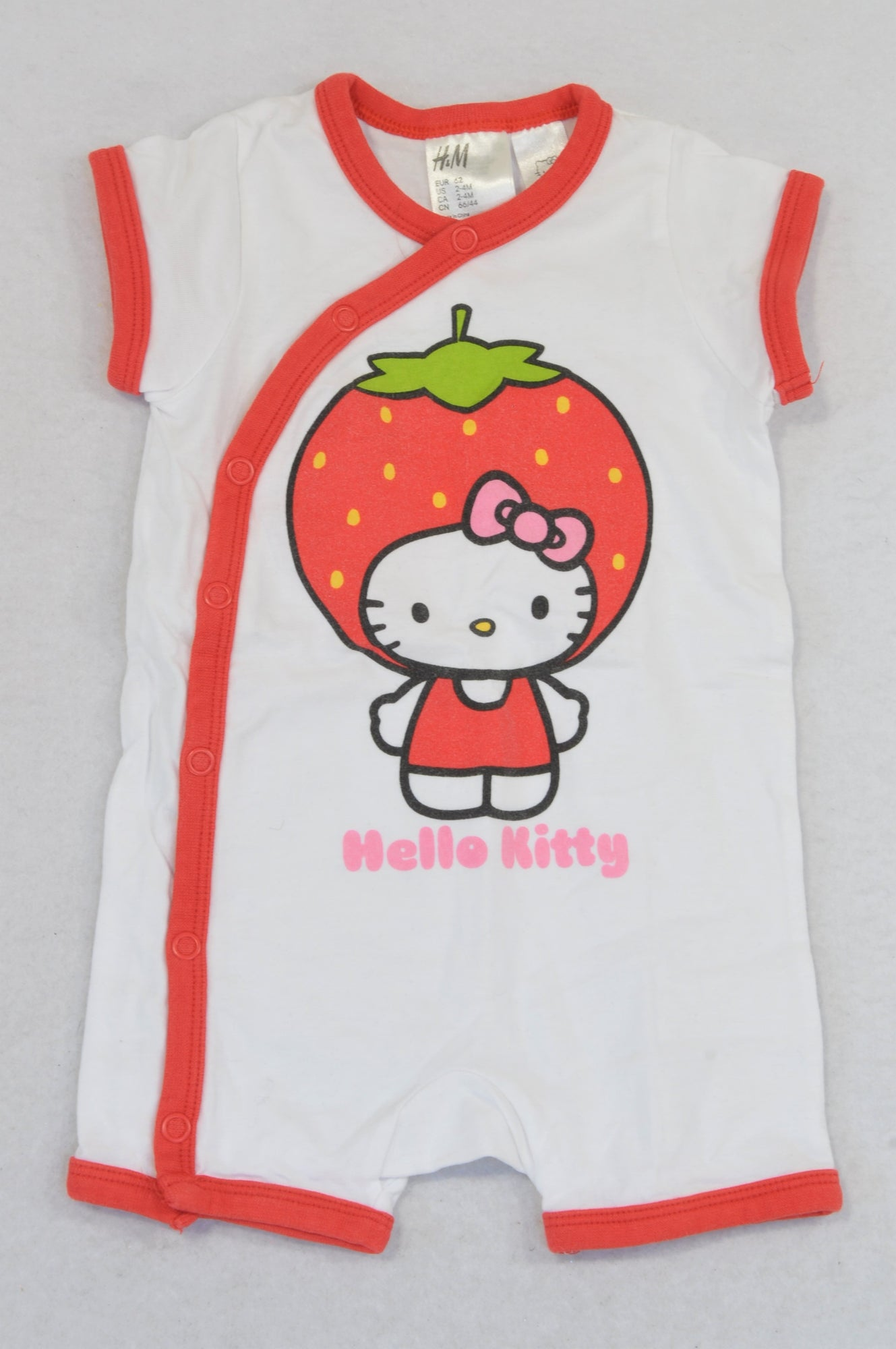 H&M Red Hello Kitty Strawberry Snap Romper Girls 2-4 months