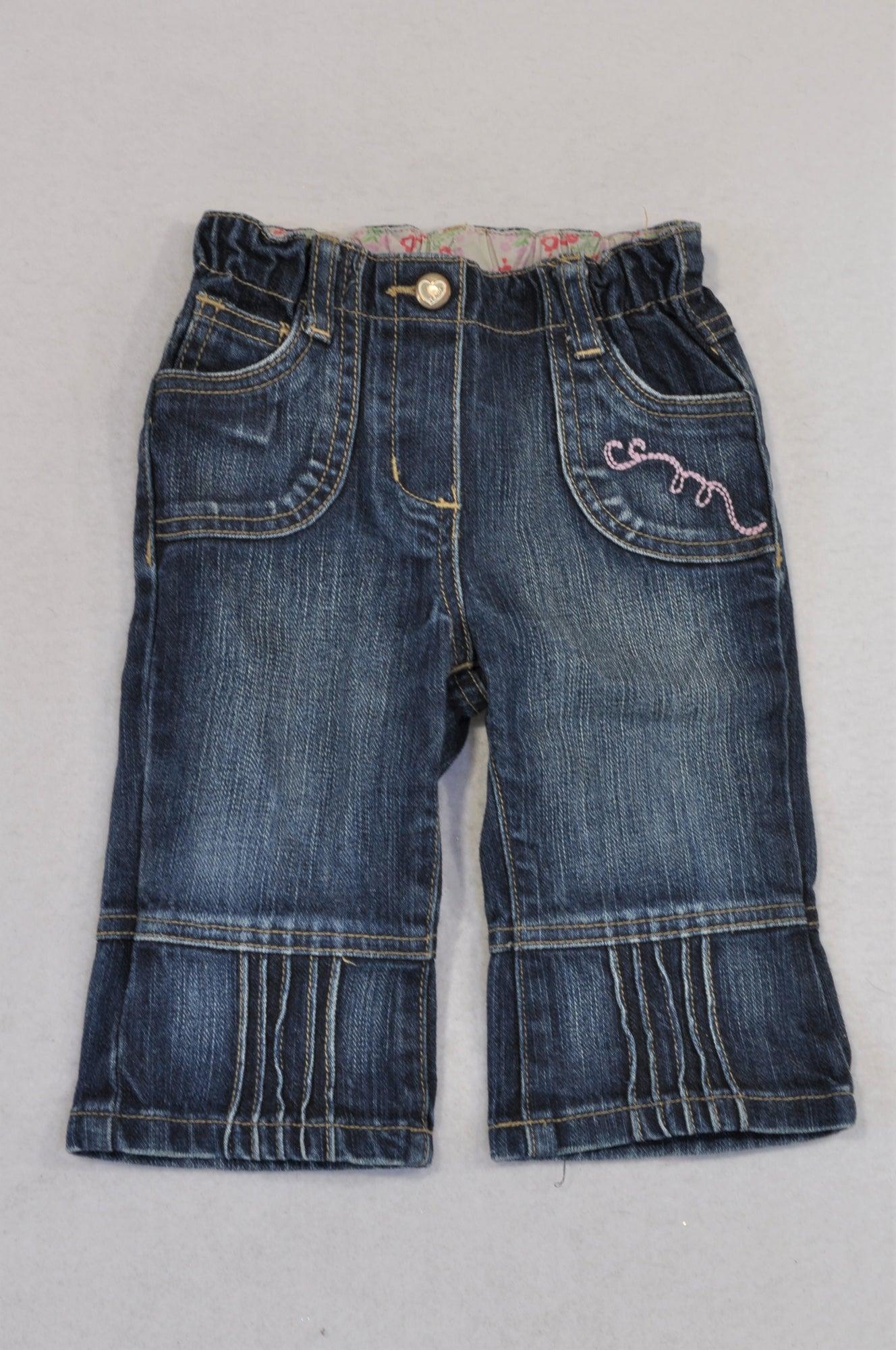 S.Oliver Denim Stone Washed Ruffle Trim Jeans Girls 3-6 months
