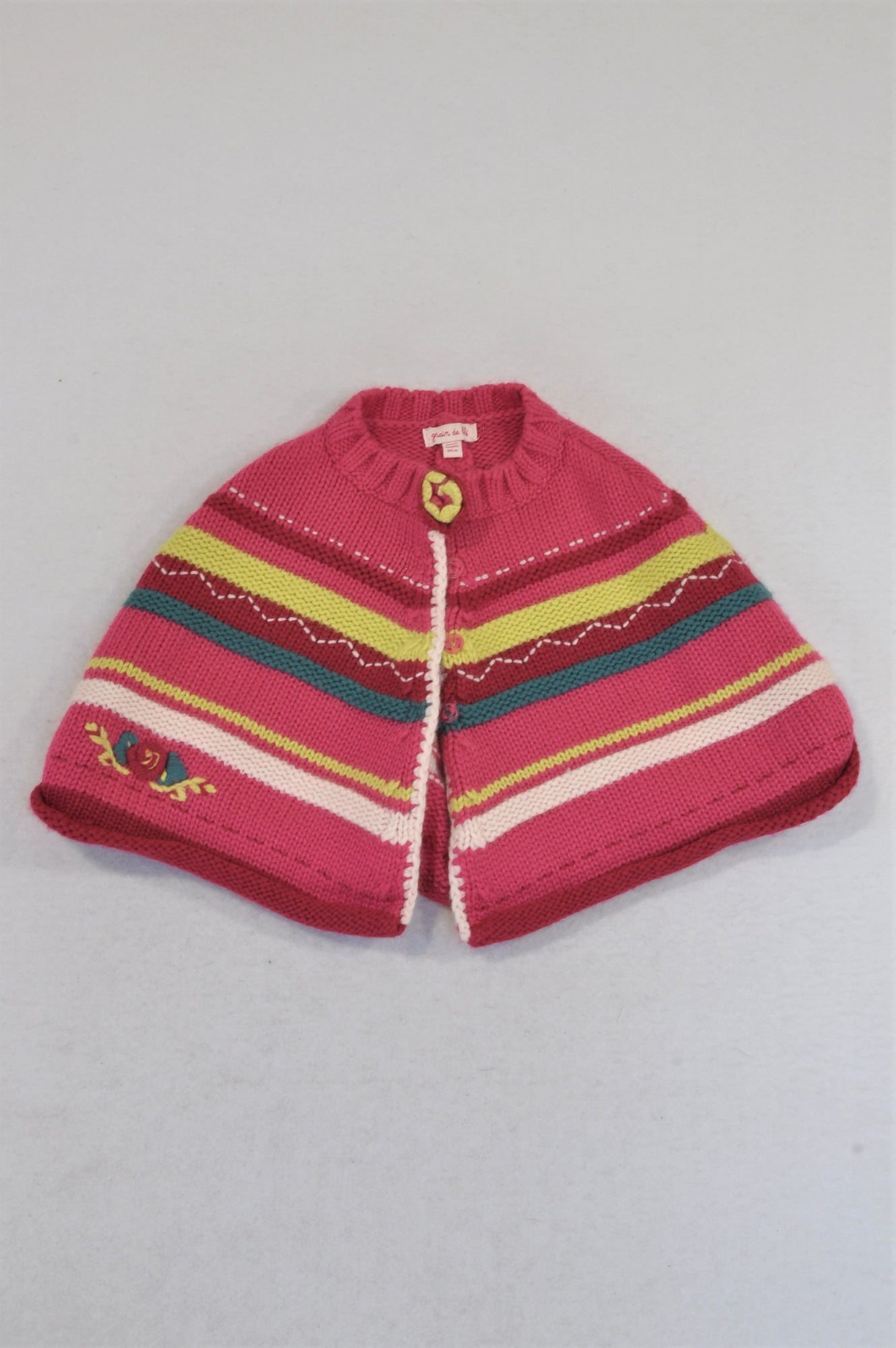 Grain de Ble Cerise Knit Yellow Trim Jersey Girls 3-6 months