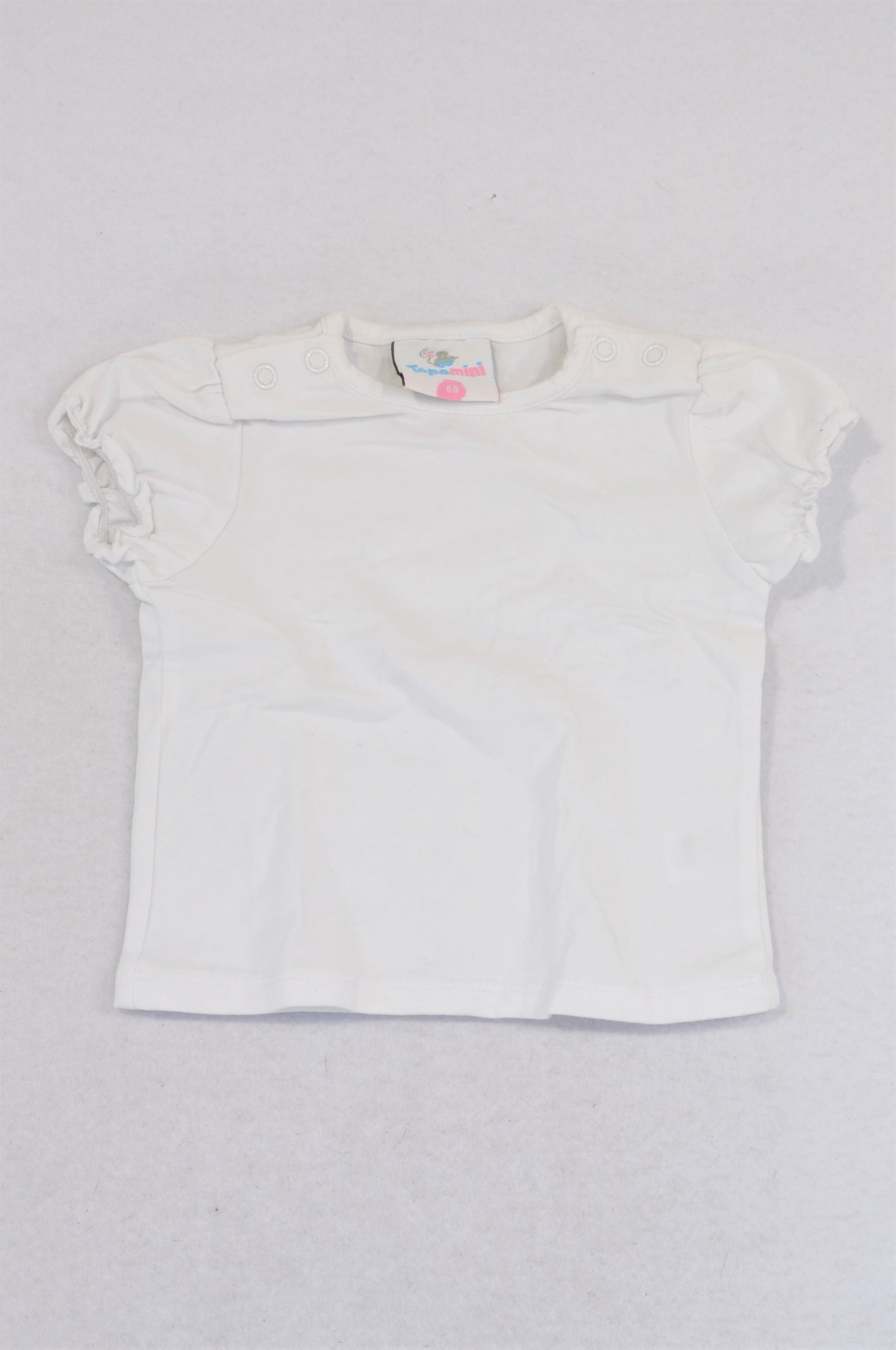 Topomini White Frill Trim Snap T-shirt Girls 6-12 months