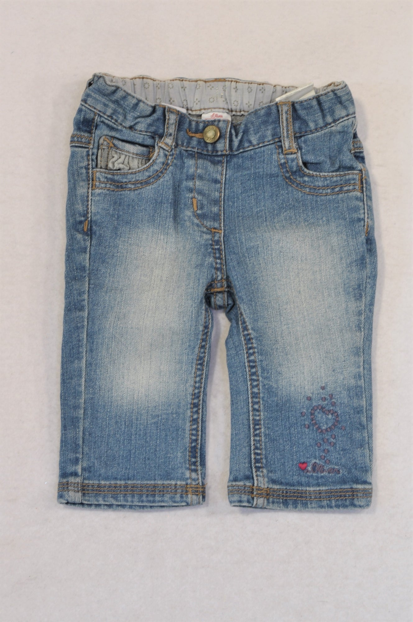 S.Oliver Stone Washed Pocket Detail 3/4 Jeans Girls 3-6 months