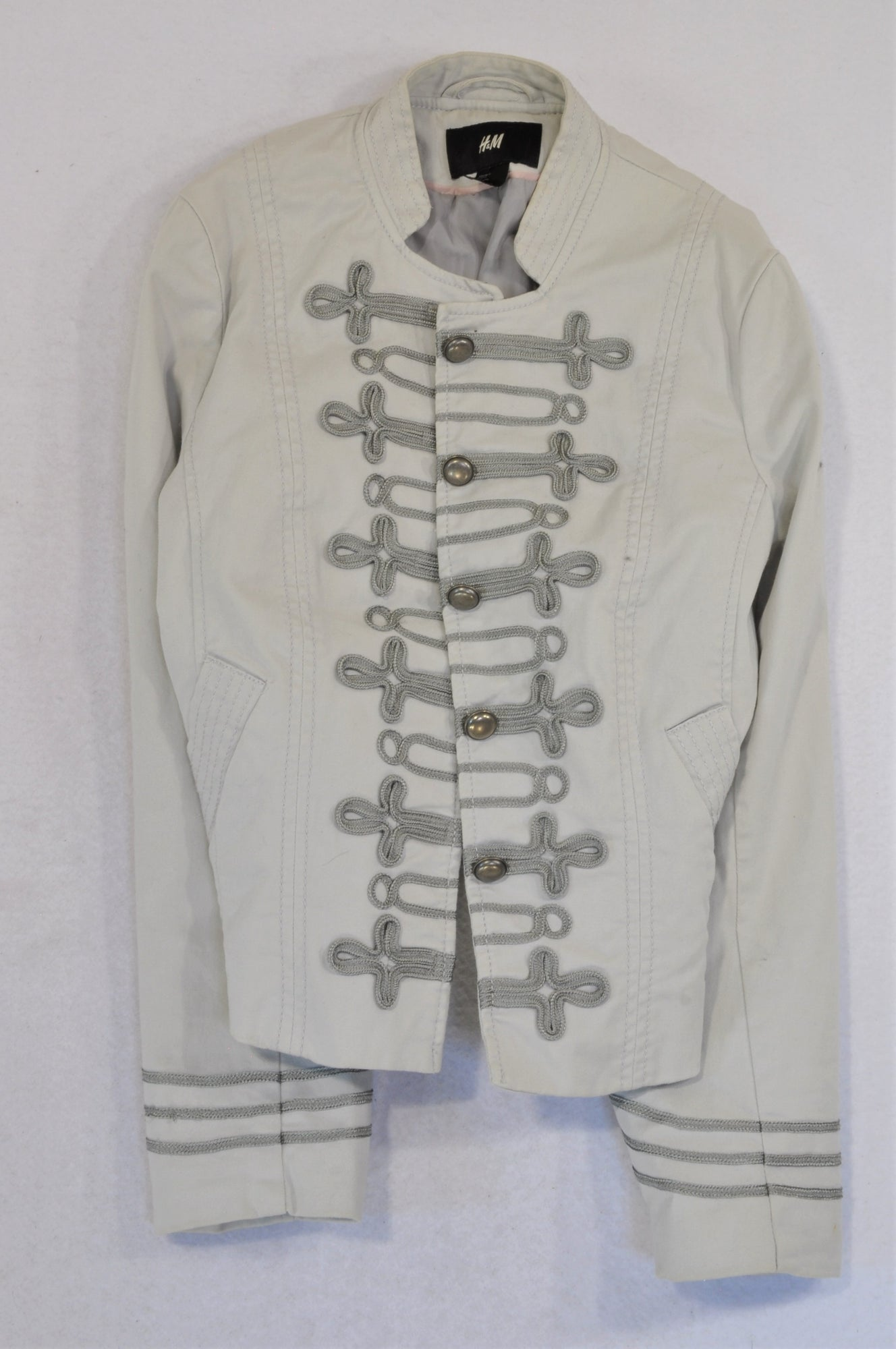H&M Beige Stitch Detail Toggle Jacket Women Size 8