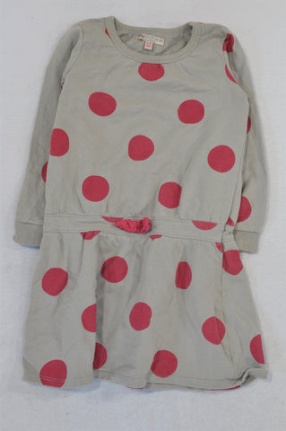 Marks & Spencers Grey Cerise Polkadot Winter Dress Girls 3-4 years
