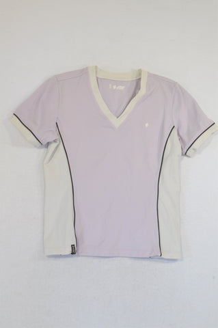 Marks & Spencers Lilac & White Stripe Sporty T-shirt Women Size 12