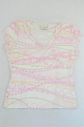 Next Pink Dotty Cap Sleeve T-shirt Women Size 10