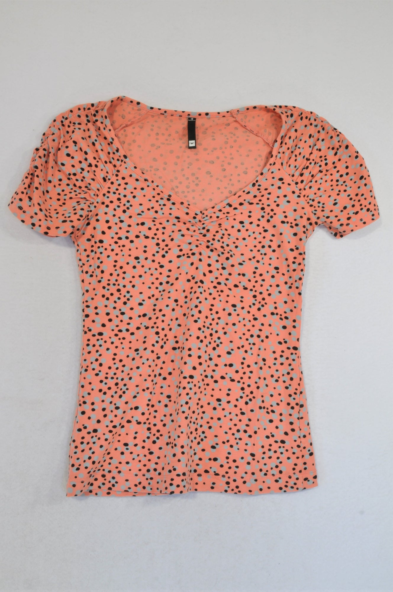 Woolworths Coral Black Grey Dotty T-shirt Women Size 10
