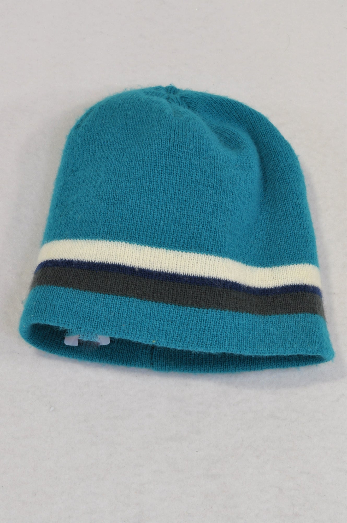Woolworths Teal & Grey Stripe Knit Beanie Boys 3-5 years