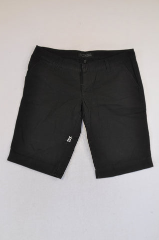 Fox Basic Black Bermuda Shorts Women Size 12/14