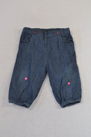 John Lewis Chambray Dotted Lined Pants Girls 3-6 months