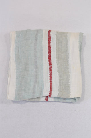 Aden + Anais Dusty Blue & Grey Stripe Red Trim Muslin Blanket Girls N-B to 1 year