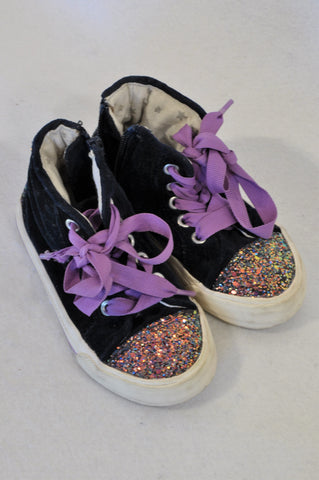 Marks & Spencers Size 8 Navy Velour Glitter Tie High Top Shoes Girls 2-3 years
