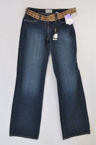 New Next Stone Washed Brown Belted Maternity Jeans Size 6